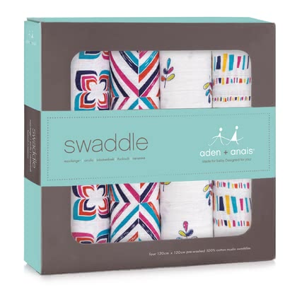 aden+anais Classic Swaddle cloths pack with four pieces flip side 2017 - large image