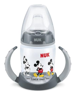 NUK FIRST CHOICE Learner Bottle Disney Mickey, 150 ml -  * The NUK FIRST CHOICE learner bottle Disney Mickey supports your little one in the transition from being breastfed or bottle-fed to drinking unaided.