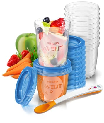 AVENT Food Storage Cups -  * For storage, transporting and feeding of baby food the AVENT VIA storage system for baby food is suitable.