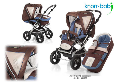 Knorr pushchair Alu Fly Swing 2012 977-cacao-azur - large image