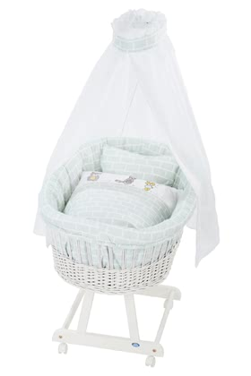 "Alvi Complete Set Bassinet ""Birthe"" with XL Lying Surface My Friends - weiß 2019 - large image"
