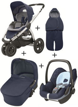 Maxi Cosi Mura 3 2012 Comfort Set (carrycot + footmuff) Dress blue - large image