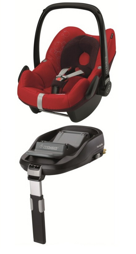 maxi cosi pebble including familyfix base 2013 intense red. Black Bedroom Furniture Sets. Home Design Ideas