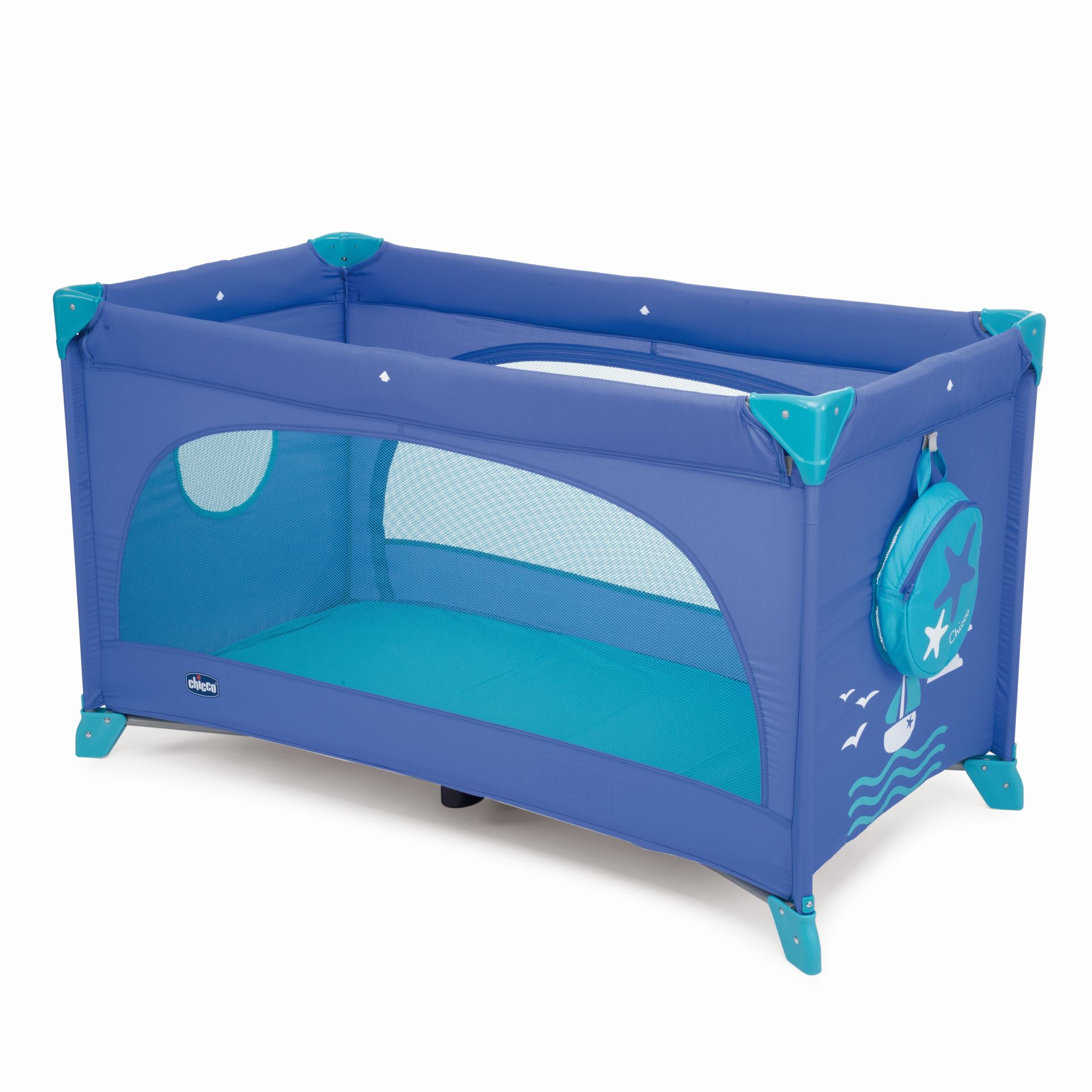 Baby bed for travel - Chicco Travel Cot Easy Sleep Marine 2017 Large Image 1