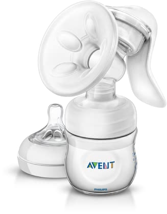 AVENT Comfort manual breast pump with close-to-nature 125ml bottle - The Avent comfort manual breast pump allows you an easier expressing of your milk in a comfortable sitting position