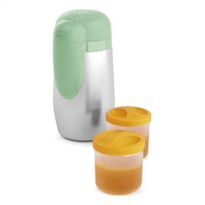 "Chicco Thermos container, Stay Warm 4m+ for baby food - li>The Chicco thermos-container ""Stay Warm"" keeps the temperature of the baby-food up to 5 hours and will supplied included two 250 ml storage containers"