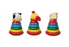 Wooden stacking tower with plush head -  * The wooden stacking tower is equipped with great wooden rings and a plush head
