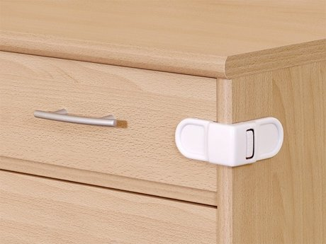 Reer Stick-on safety latch for cabinet doors and drawers -  * The Reer Cabinet and Drawer Lock is the best to close securily dangerous objects in cabinets.