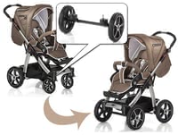 Hartan Quad-System for Sky/ Sky XL -  * Hartan's Quad-System features an additional pair of air chamber wheels with cross rim that transforms your flexible pushchair into an off-road pram.