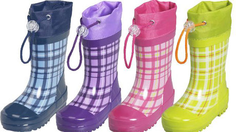 Playshoes wellies, checked blau 2014 - large image