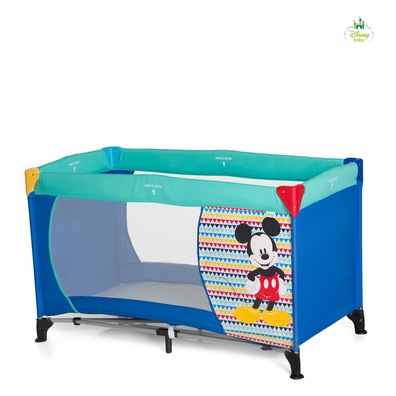 disney baby travel cot dream n play mickey minnie 2018 mickey geo blue buy at kidsroom. Black Bedroom Furniture Sets. Home Design Ideas