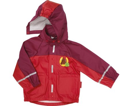 Playshoes rain jacket, horses - The bright red raincoat is a must for little horse lovers. Colorful and pretty printed comes even on overcast rainy days on a good mood.