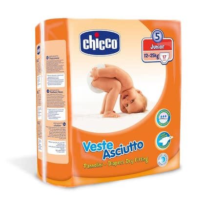 "Chicco Veste Asciutto Nappies Size 5 ""Junior"", 12 – 25 kg - * The Chicco Junior diapers are highly breathable, gentle on baby's skin and suitable for 12-25 kg body weight"
