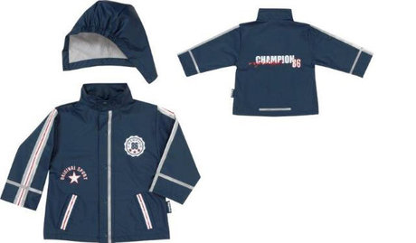 Playshoes raincoat, champion - The dark blue raincoat for true winner! With this jacket your little boy is going to be the number one on tarnish and rainy days!
