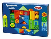 "Haba Buildings Blocks ""Fantasy"" -  * Building small houses, a high tower or a whole little colourful town. The beautiful resilient wooden building blocks by Haba tickle your little one's fancy and stimulate his or her imagination. They are suitable for children from 1,5 years on."