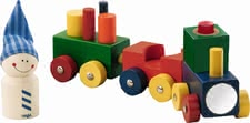 Haba Baby Train Lokmock -  * The journey can begin as soon as all the coloured wooden elements found their proper place and the goblin got on the train the journey can begin.