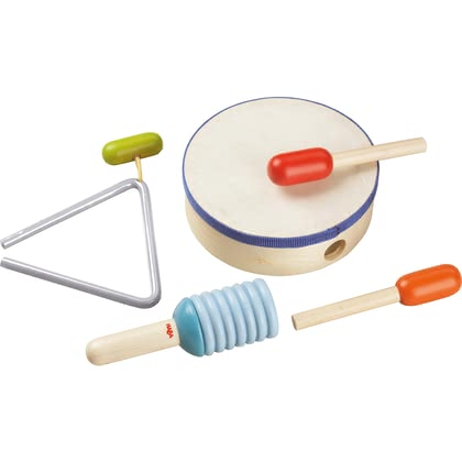 HABA Percussion Set -  * Making music in conjunction with rhythm and movement has a positive effect on the development of your child's personality and their ability to concentrate.