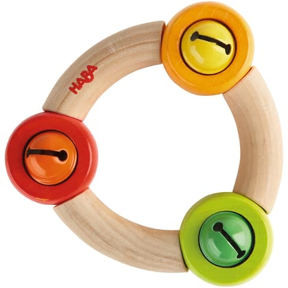 "Haba Clutching Toy ""Ringlet"" -  * ""Ringlet"" comes with three little bells. Your child will love the sound this toy makes as soon as he or she touches it."