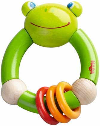 "Haba Clutching Toy ""Croaking Frog"" -  * This amazing clutching toy with a funny frog design accompanies your little one in everyday life and is suitable for children at the age of 10 months on."