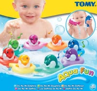 Tomy Do Re Mi Dolphins -  * The scale goes up and down with the musical notes DoReMi... Simply tap the dolphin's head and listen eagerly which musical note is played. Each of the coloured dolphins plays another musical note.