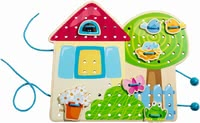 "Haba Threading Game ""Greta's Summer House"" -  * Let the birdie sit on the roof and flowers stand on the windowsill or on the meadow. The dog plays cheerfully in the garden while large fungi grow under the apple tree."