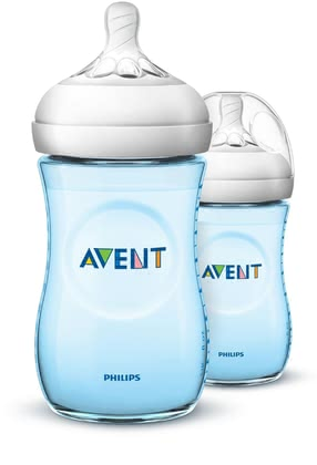 AVENT Natural Baby Bottle Double-Pack - Blue -  * Close to nature! – Now available for your baby boy! The blue bottles are ergonomically shaped and easy to hold and grip in any direction for maximum comfort, even for your little boy's tiny hands. /ul>