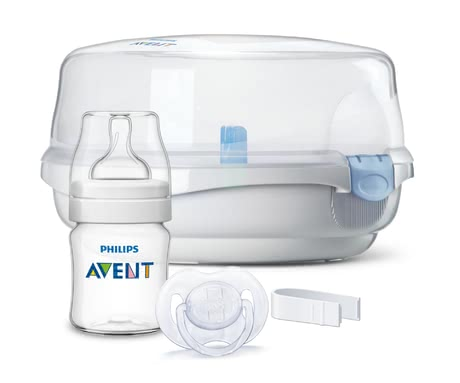 AVENT Microwave Steam Steriliser with Accessories -  * Whether bottles, teats, soothers can quickly and easily be sterilised with the Avent microwave steam steriliser. Simply fill in the water, insert the bottles and turn on the microwave. *