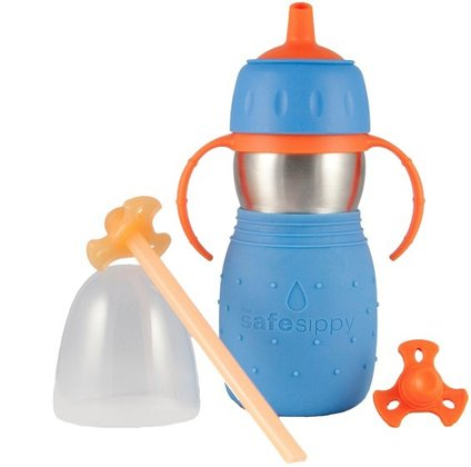 Drinking bottle with straw 2in1 blau 2016 - large image