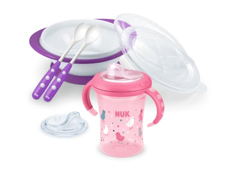 NUK Learning to Eat Set -  * The NUK Learning to Eat Set comes with 1 x starter cup, 1 x feeding bowl, 2 x feeding spoons and 1 x replacement spout and is suitable for children at the age of 6 months and older.