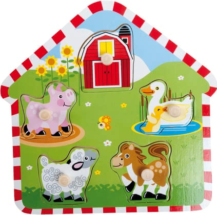 Bieco Puzzle house - The colorful wooden puzzle in Nice House form to be filled. Her little babies discovered playful colors and shapes and they learned right to associate.