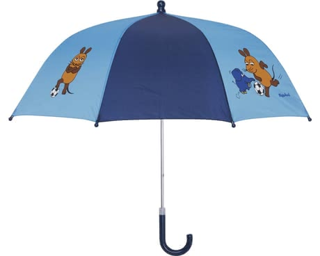 Playshoes umbrella for children, mouse & elephant with footballs in blue 2016 - large image