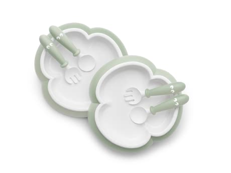 BabyBjörn plate with spoon and fork 2 sets - * The funny set consists of a plate, a spoon and a fork and was developed to facilitate eating independently for your little one.