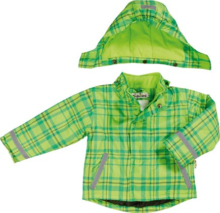 Playshoes snow jacket in a green/turqouise checked pattern 2016 - large image