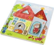 Haba Wooden Puzzle Mr. Bear's House - * The Haba wooden puzzle with bears will support your little one's fine motor skills and suitable for children aged 1 ½ years.