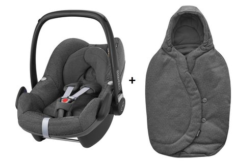maxi cosi infant carrier pebble incl foot muff 2017 sparkling grey buy at kidsroom car seats. Black Bedroom Furniture Sets. Home Design Ideas