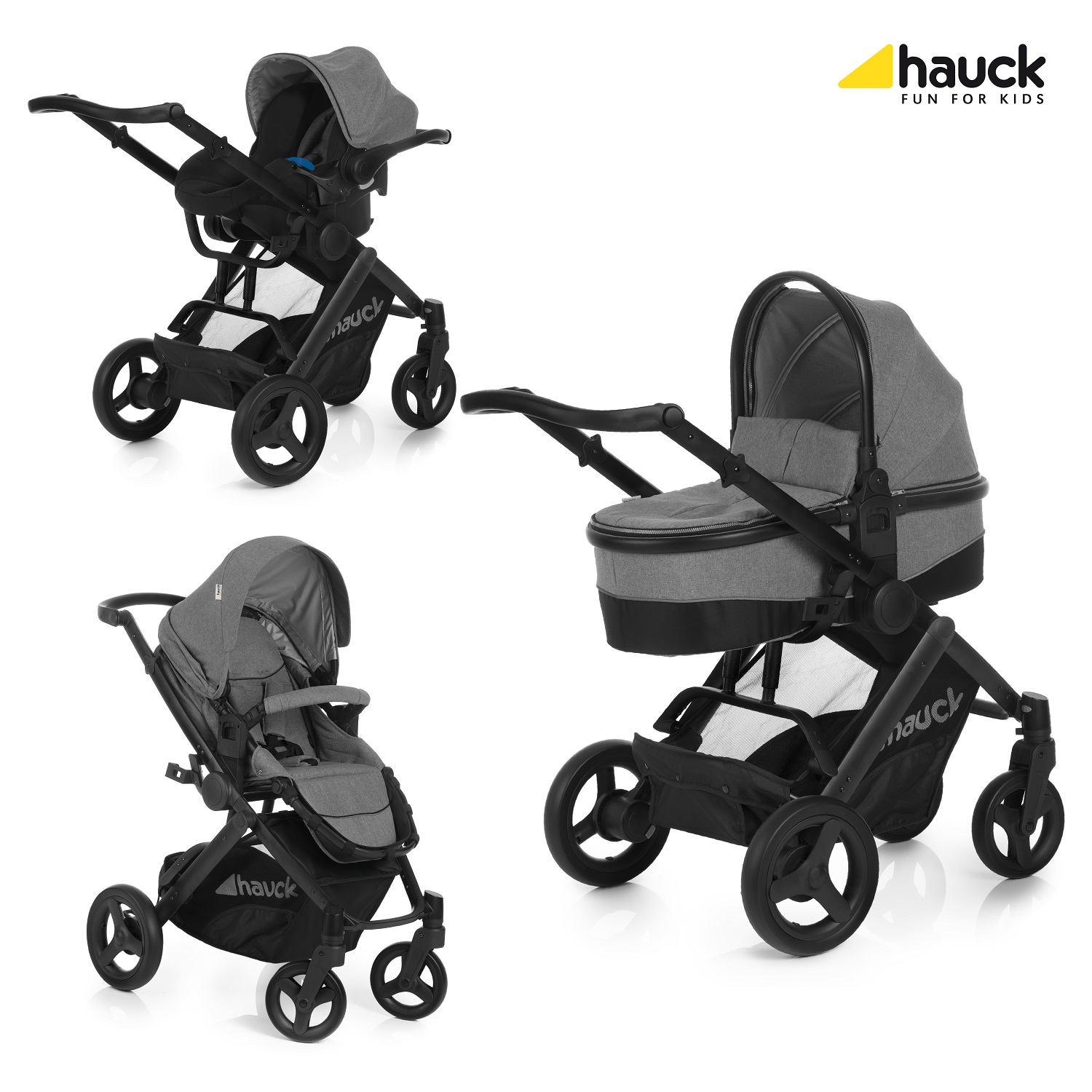 hauck maxan 4 stroller trio set 2017 melange grey buy at. Black Bedroom Furniture Sets. Home Design Ideas