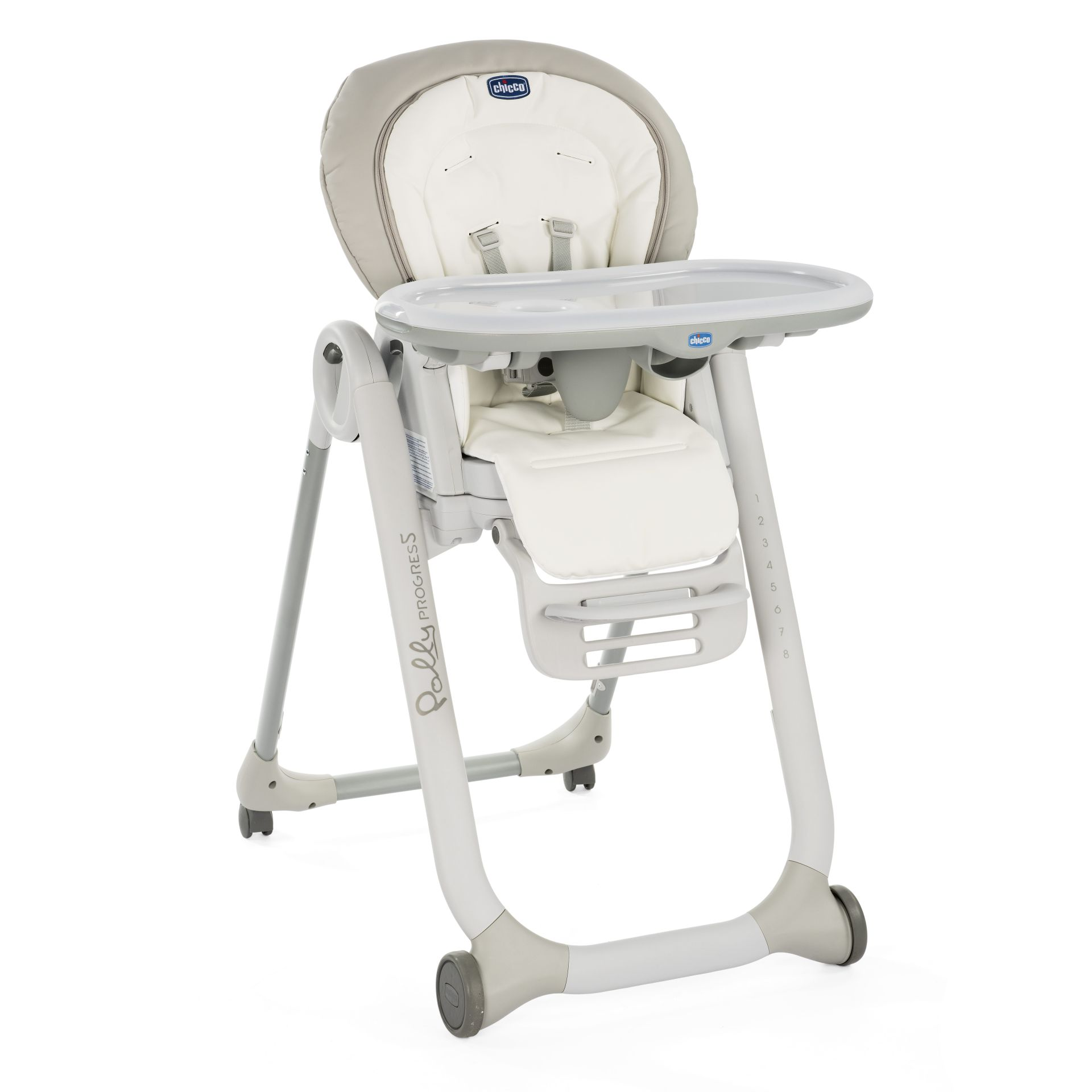 Chicco high chair polly progres5 2018 white snow buy at for Chaise haute fisher price