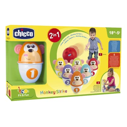 Chicco Fit & Fun Monkey Strike -  * Play, stack and ... Monkey Strike! Your child will love this colourful bowling set.