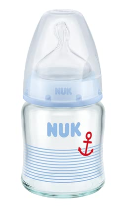 NUK First Choice+ Glass Baby Bottle, Anti-Colic Silicone Spout -  * The high-quality, durable NUK First Choice+ Glass Baby Bottles are particularly hygienic and easy to use. There are two trendy designs available: pink for baby-girls and a blue maritime design for baby-boys.