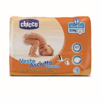 "Chicco Veste Asciutto diapers, size 1 ""New Baby"", 2-5 kg - * The Chicco diapers size 1 are suitable for your favorite with a body weight of 2-5 kg, and offer perfect protection"