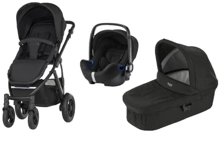 Britax Römer SMILE 2 incl. Hard Carrycot + Infant Car Seat Baby Safe 2 i-Size Cosmos Black 2019 - large image