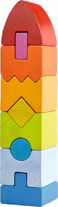 "Haba Stacking Game Geometric Tower -  * Colourful as a rainbow, the Haba stacking game ""Geometric Tower"" promotes your child's first senses."