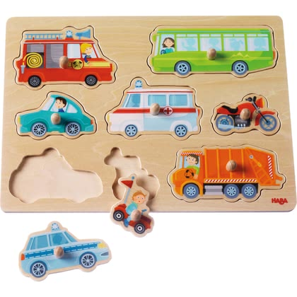 "HABA Clutching Puzzle ""World of Vehicles"" -  * Learn how to do a puzzle and recognise shapes in a playful way!"