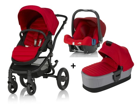 Britax Römer AFFINITY 2 incl. Colour Pack + Hard Carrycot + Infant carrier Baby Safe Plus SHR II Flame Red 2018 - large image