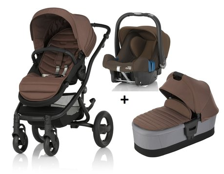 Britax Römer AFFINITY 2 incl. Colour Pack + Hard Carrycot + Infant carrier Baby Safe Plus SHR II Wood Brown 2017 - large image