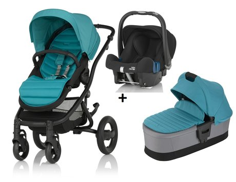 Britax Römer AFFINITY 2 incl. Colour Pack + Hard Carrycot + Infant carrier Baby Safe Plus SHR II Lagoon Green 2018 - large image