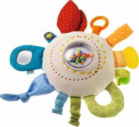 "Haba Cuddly Playing Cushion ""Rainbow Fun"" - * Haba Teether Cuddly ""Rainbow Round"" – This cushion by Haba is very soft and provides multiple elements and features to discover."