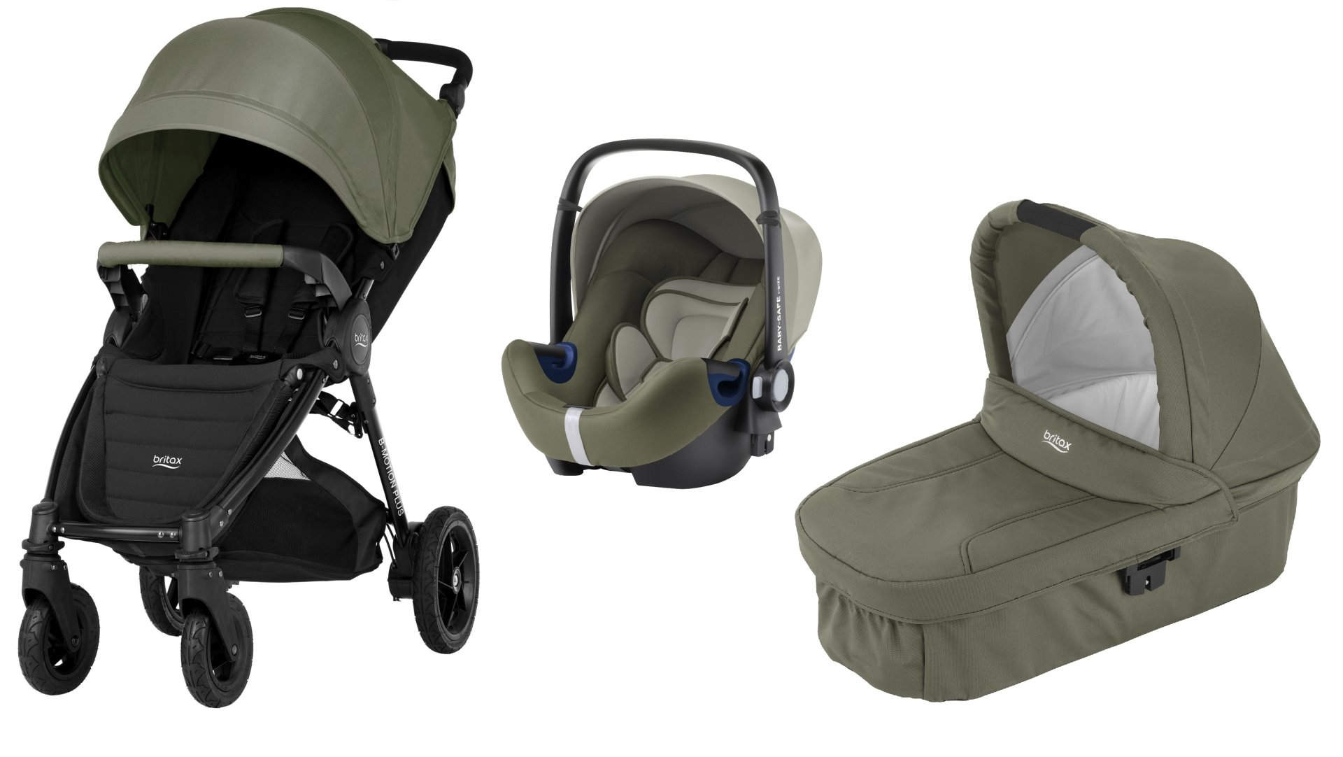 Britax B Motion 4 Plus Including Canopy Pack + Carrycot + Baby Safe 2 I ...