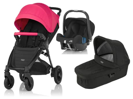 Britax B-Motion 4 Plus including Canopy Pack + Carrycot + Infant Car Seat Baby Safe 2 i-Size Rose Pink 2016 - large image
