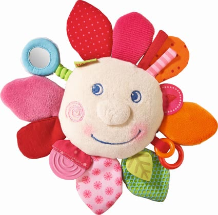 "Haba Cuddly Playing Cushion ""Spring Flower"" - * Haba Teether Cuddly ""Spring flower"" – This teether blazes in a lot of great colours and offers plenty possibilities to discover."